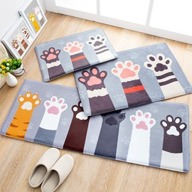 Water Absorption Cartoon Style Flannel Machine Made Area Rug