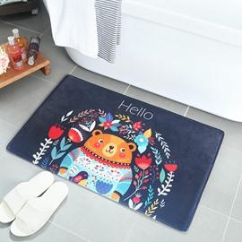 Cartoon Style Machine Made Hand Wash Anti-Slip Flannel Area Rug