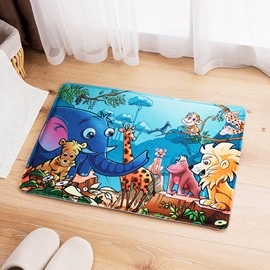 Flannel Cartoon Style Print Water Absorption Rectangle Area Rug