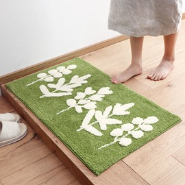 Floral Pattern Water Absorption Polyester Machine Wash Area Rug