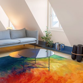 Oil Painting Polyester Fashion Style Rectangle Living Room Area Rug