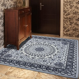 European Style Living Room Rectangle Floral Area Rug