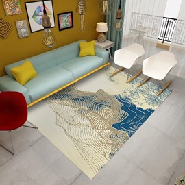 Nordic Style Anti-Slip Rectangle Polyester Living Room Area Rug