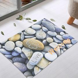 Stones Pattern Rectangle Waterproof Modern Style Area Rug