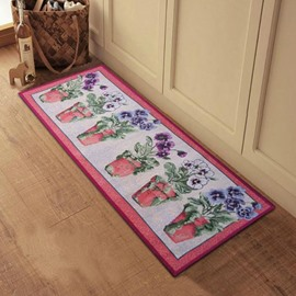 Beautiful Flower Vases Pattern Anti-slip Kitchen Area Rug
