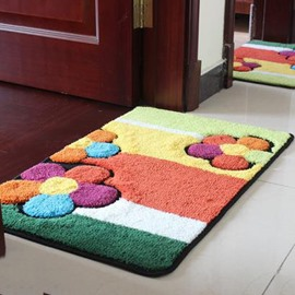 Wonderful Rectangular Colored Flowers Non-Slip Doormat