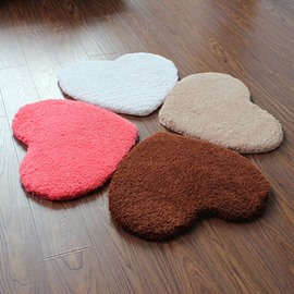 Super Soft Ermine Heart Shaped Area Rug