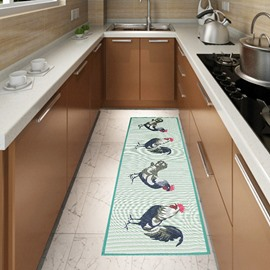 Unique Rooster Pattern Anti-Slipping Kitchen Area Rug
