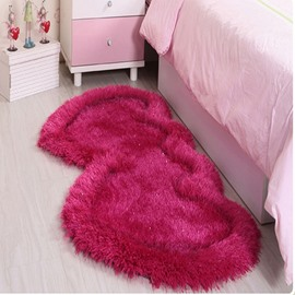 Romantic Double Heart Design Multi-Color Bedroom Kidsroom Area Rug