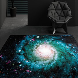 Sparkling Rectangle Universe Planet Pattern Decorative Area Rug