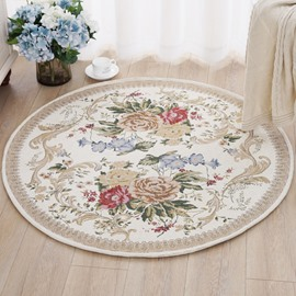 Round Country Style Flower Pattern Design Skid Resistance Area Rug