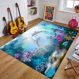 Cartoon Style Rectangle Wearproof Crystal Velvet Soft Area Rug
