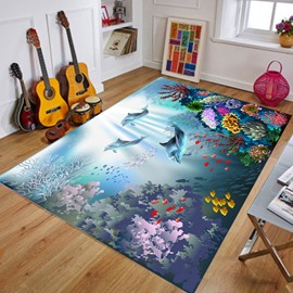 Crystal Velvet Soft Living Room Cartoon Style Dampproof Area Rug