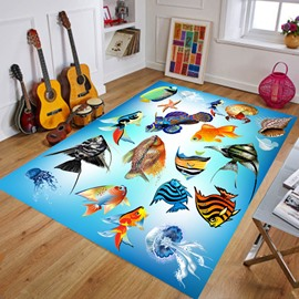 Sea World Waterproof Crystal Velvet Cartoon Style Area Rug