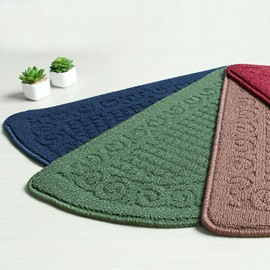 Retro Style Dust Removal Anti-Slip Bathroom Semicircle Area Rug