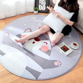 Round Flannel Cartoon Style Bedside Anti-Slip Area Rug