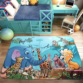 Cartoon Style Anti-slip Acetate Fiber Rectangle Baby Area Rug