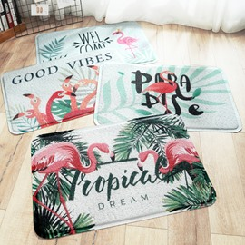 Flamingo Pattern Hand Wash Rectangle Waterproof Area Rug