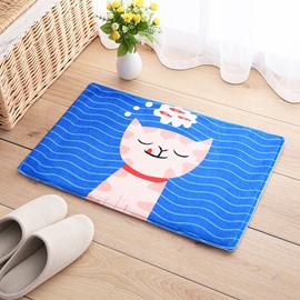 Water Absorption Anti-Slip Cartoon Style Polyester Rectangle Area Rug
