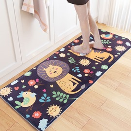 Flannel Cartoon Style Water Absorption Rectangle Area Rug