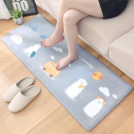 Flannel Cartoon Style Thicken Water Absorption Area Rug