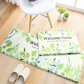 Anti-Slip Water Absorption Polyester Rectangle Floral Pattern Area Rug