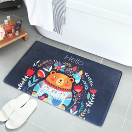 Cartoon Style Machine Made Hand Wash Anti-Slip Flannel Area Rug