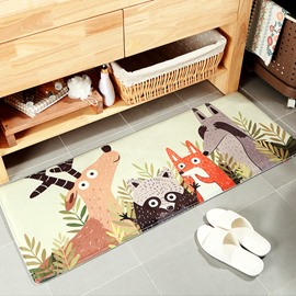 Water Absorption Anti-Slip Cartoon Style Flannel Machine Made Area Rug