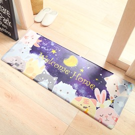 Cartoon Style Kitchen Balcony Water Absorption Anti-Slip Area Rug