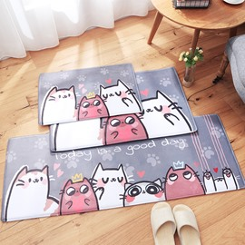 Cartoon Style Flannel Anti-Slip Water Absorption Machine Wash Area Rug