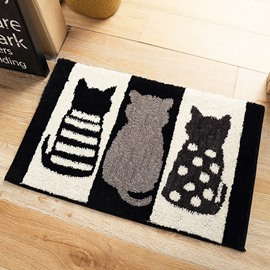 Bathroom Anti-Slip Water Absorption Cartoon Style Rectangle Area Rug