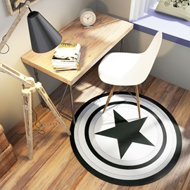 Round Shield Polyester Machine Made Hand Wash Area Rug