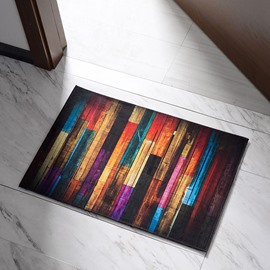 BOHO Wood Board Door mat Non Slip Area Rugs Carpet Floor Mat Kitchen Rug