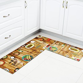 Delicious Food Pattern Polyester Machine Made Area Rug