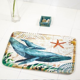 Cartoon Sea Creatures Anti-Slip Rectangle Area Rug