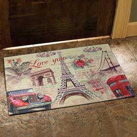 European Style Gorgeous Eiffel Tower and Car Print Design Doormat