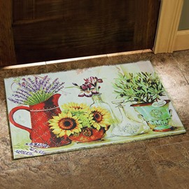 Country Style Beautiful Flower Vases Print Doormat