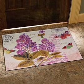 Country Style Beautiful Butterflies and Elegant Flowers Print Doormat
