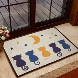 Charming Simple Five Cats Pattern Non-slip Doormat