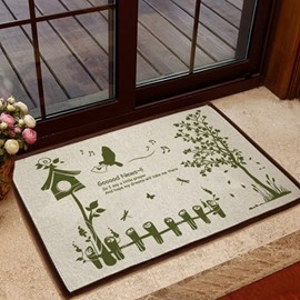 Elegant Green Carrier Pigeon and Tree Pattern Non-slip Doormat