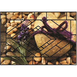 Pretty Heart-shaped Cobblestone Pattern Non-slip Flocking Doormat