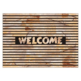 Retro Welcome and Lines Design Non-slip Flocking Doormat