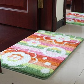 Wonderful Pretty Striped Fowers Non-Slip Doormat