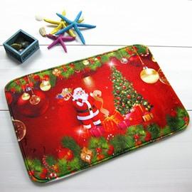 Festival Christmas Santa Claus and Christmas Tree Anti-Slipping Doormat