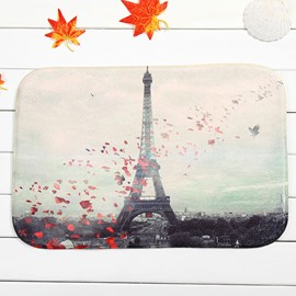 Eiffel Tower and Petal Coral Velvet Anti-Slipping Doormat