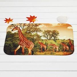 Creative Giraffes in Forest Coral Velvet Anti-Slipping Doormat