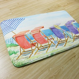 Beach Lounge Pattern Coral Fleece Anti-Slipping Doormat