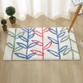White Rectangle Embossment Beautiful Plant Pattern Slip Resistant Doormat