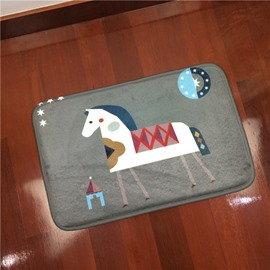 Amusing Polyester Simple Style Cartoon Horse Pattern Decorative Doormat