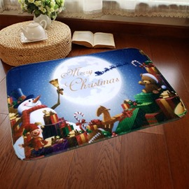 Rectangle Christmas Decoration Snowman Pattern Water Absorption Doormat